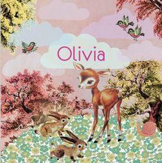 retro vintage Geboortekaartje Olivia - Lief herfst kaartje met hertje en konijntjes - Petit Konijn