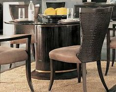 """Thomasville Furniture Beekman Place Oval Base w/ 48"""" Round Glass Top Table"""