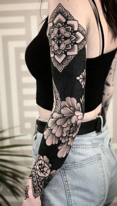 These Striking Solid Black Tattoos Will Make You Want To Go All In - beautiful floral and mandala patterns on a solid black sleeve © tattoo artist Jack Peppiette - Sexy Tattoos, Unique Tattoos, Black Tattoos, Body Art Tattoos, Tattoos For Guys, Tattos, Cover Up Tattoos For Women, Waist Tattoos, Tattoos Skull
