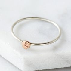 Rose gold and silver stacking ring with by silvalunajewellery