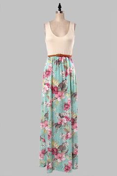 Mint floral print maxi dress with sold ivory top, belted