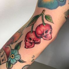 Skull cherry tattoo by Reno Tattoo. cherry fruit sweet skull skull skullcherry renotattoo
