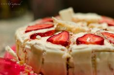 strawberries n cream genoise cake Genoise Cake, Strawberries And Cream, Camembert Cheese, Cheesecake, Strawberry, Cakes, Baking, Sweet, Desserts