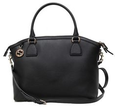 050a03911a2fbf 449651 Convertible with Interlocking G Charm and Sho Black Leather Satchel