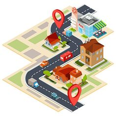 Buy Vector Illustration of the Navigation Map with Gps by vectorpocket on GraphicRiver. Vector illustration of the navigation map with gps icons. Image of a paper map with red pin pointers, houses, cars. Illustrations, Graphic Illustration, Free Vector Illustration, How To Do Animation, Design Isométrico, Vector Graphics, Vector Free, Vector Map, Crafts