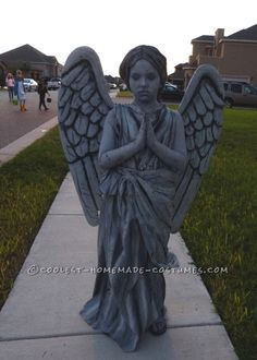 Homemade Guardian Angel Statue Costume for a 9 Year Old Girl... Coolest Halloween Costume Contest