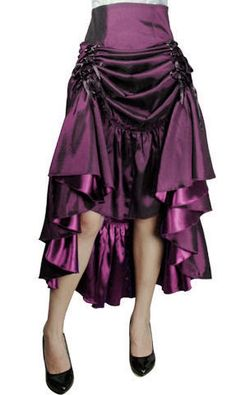 This versatile and unique 3 Way long skirt can be worn down for Victorian styling, up on one side for Gypsy styling or front tied up for vintage burlesque looks. The ribbon holds the fabric up in a double bow, ruffles toward the bottom. Available in U.S sizes 6-4X. There is a cord that runs inside the skirt for cinching it up. Do not use the outer ribbons, use the inner ones!Standard size approx. length: 42 inches; Plus size approx. length: 45 inches. MATERIAL: SATIN   97%…
