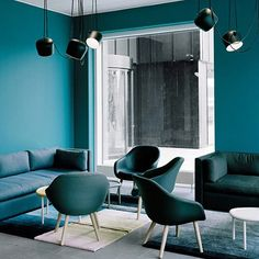 There are six shades of teal going on here. This Hay showroom makes us want to go monochrome in a major way.