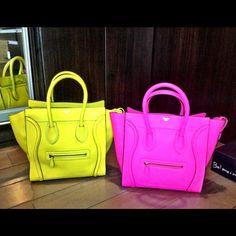 Shut the front door!!!!!!!! Neon colored Celine bags...want them now.