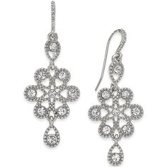 Charter Club Gold-Tone Snowflake-Inspired Crystal Drop Earrings ($19) ❤ liked on Polyvore featuring jewelry, earrings, silver, gold tone earrings, glitter jewelry, crystal stone jewelry, snowflake earrings and goldtone jewelry
