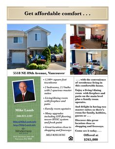 Just Listed! Real Estate for Sale: $265,000-2 Bd/2.1 Ba Upgraded Two Story Summit Springs Townhouse with Two Spacious Master Suites in a Central Location at: 5518 NE 89th Ave, Vancouver, Clark County, WA! Area 21. Listing Broker: Mike Lamb (360) 921-1397, Windermere Stellar, Vancouver, WA! #realestate #justlisted #vancouverrealestate #SummitSprings #townhouse #twomastersuites #upgraded #centrallocation