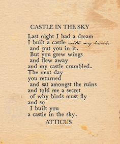 'Castle In The Sky' #atticuspoetry #atticus #poetry #poem #loveherwild  #castle #sky #forever #wings