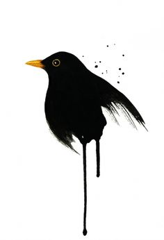 Blackbird - Watercolor painting created by the Swedish artist Emma Andersson. Shop: https://www.etsy.com/ca/shop/greenfoxart/items
