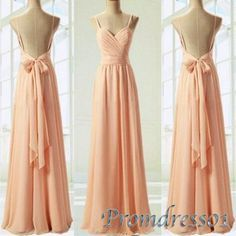 Backless blush pink prom dress, ball gown with straps, 2016 elegant handmade long bridesmaid dress ,