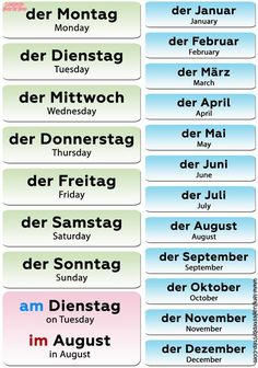 All months and days of week in German are masculine in gender. In German time expressions, the contraction IM (IN DEM) precedes the name of the. Study German, Learn German, German English, Learn French, Learn English, Spanish English, German Grammar, German Words, Deutsch Language