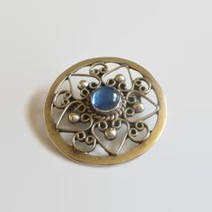 Mexico Sterling Brooch Blue Art Glass Cabochon & by baublology #vogueteam #mexicosterling