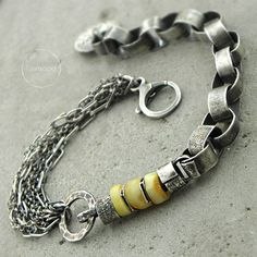 AMBER & SILVER CHAIN BRACELET - product image