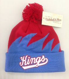 caa6ca99d76 MITCHELL   NESS CUFFED KNIT POM SHARK TOOTH BEANIE NHL SACRAMENTO KINGS by  Mitchell   Ness