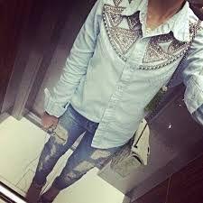Resultado de imagem para blusa jeans pedraria