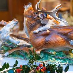 Deer with Dogs - Herend figurines, Herend porcelain animals Deer Statues, China Dinnerware Sets, China Porcelain, Surface Design, Sculpture, Dolls, Quail, Painting, Animals