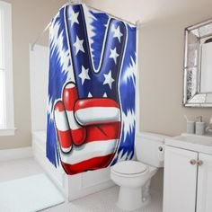 A Sign Of Peace Shower Curtain Independence Day 4th Of July