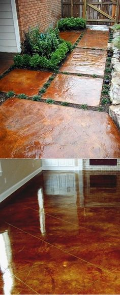 Porch and patio? How to stain concrete yourself. Goodness knows I have access to lots and lots of concrete. Outdoor Spaces, Outdoor Living, Outdoor Decor, Outdoor Projects, Home Projects, Pallet Projects, Garden Projects, Concrete Floors, Concrete Staining