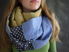 Snap infinity Scarf // Green Linen // Navy Polka Dot by Stitch803, $39.00