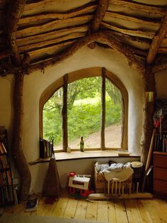 For all Hobbit lovers: a low impact woodland home. View from interior