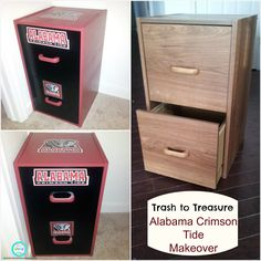 Alabama Crimson Tide Filing Cabinet Makeover from Ria's World of Ideas: Trash to Treasure