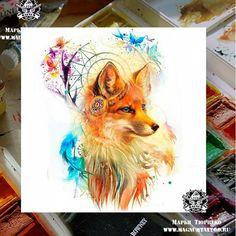 Cute Animal Drawings, Cute Drawings, Fuchs Tattoo, Fox Drawing, Geniale Tattoos, Fox Tattoo, Fox Art, Body Art Tattoos, Fantasy Art