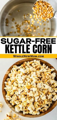 HEALTHY KETTLE CORN--If you're looking for an easy healthy snack or a healthy treat this Sugar-free Kettle Corn is perfect! Just 3 ingredients and you can have this amazingly delicious snack ready! Make a bunch of batches of this healthy popcorn, and keep them on hand for on the go snacks! Sugar Free Snacks, Gluten Free Treats, Sugar Free Recipes, Sugar Free Kettle Corn Recipe, Sweet Recipes, Yummy Healthy Snacks, Easy Snacks, Healthy Popcorn Recipes