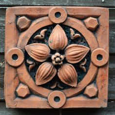 Victorian decorative brick copy antique terracotta wall tile Lily is part of Victorian decor Walls - finish can vary slightly from that shown Decorative Stone Wall, Decorative Wall Panels, Decorative Bricks, Terracotta, Brick Wall Gardens, Brick Wallpaper, Victorian Decor, Wall Patterns, Victorian