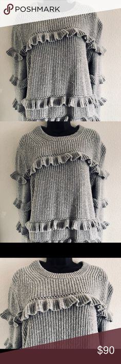 Michael Michael Kors Ruffles Sweater Tiered ruffles capture a romantic spirit on this cozy ribbed-knit pullover. Temper its ultra-femme aesthetic with an exotic crossbody or leather skinnies. DETAILS • 35% Wool/30% Nylon/30% Viscose/5% Cashmere • Machine Wash • Imported Michael Kors Sweaters