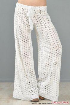 Pantalones blancos del verano! - Todo en calado ... (crochet) - País mamá