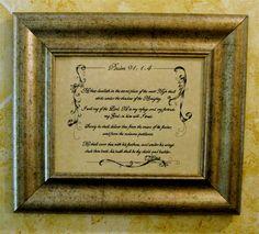 Custom Calligraphy, Bible Art,  Psalm 91, verses 1 through 4, Baptism, Wedding, Anniversary, Christening
