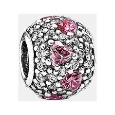 PANDORA 'Shimmering Heart' Pave Bead Charm (5.135 RUB) ❤ liked on Polyvore featuring jewelry, pendants, pandora, sterling silver, heart shaped charms, heart shaped jewelry, pandora charms, polish jewelry and charm jewelry