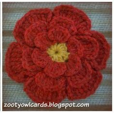 Absolutely love this #crochet designer! Zooty Owl's Crafty Blog: Big Flower Crochet Brooch: Pattern