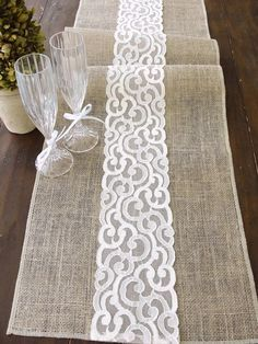 natural burlap table runner wedding table runner with country cream lace rustic wedding party linens , handmade in the usa. burlap table runner wedding table runner with country cream lace rustic wedd. Burlap Projects, Burlap Crafts, Diy And Crafts, Sewing Projects, Rustic Table Runners, Burlap Table Runners, Quilted Table Runners, Tablerunners, Deco Table