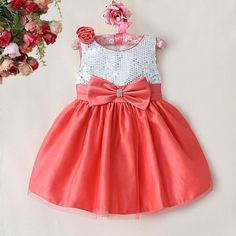 Baby Girls Party Dress - Cute Red Grace Sequins Polyester Princess Dress, Children Wedding Outfits With Bow, Baby Wear Baby Girl Party Dresses, Princess Flower Girl Dresses, Little Dresses, Little Girl Dresses, Girls Dresses, Frock Design, Baby Dress Design, Toddler Fashion, Kids Fashion
