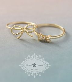 Bitter Sweet Jewellery 14k gold plated collection. #bow #gold #14k #stack #ring #delicate #elegant #cz #light