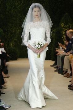 sleek wedding dress with long lace sleeve classic