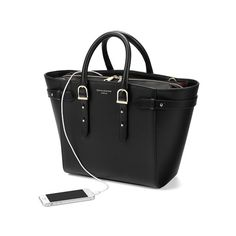 Midi Marylebone Tech Tote in Black Pebble from Aspinal of London