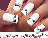 Star nail decal, stars nail art, 4 STRIP nail decals, Nail Art design,  Water Slide nail Decals, St Patricks Day