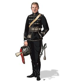 52  Russia, Officer, 5th Alexandriiski Hussar Regiment, 1912.  The death's head was officially adopted at the centenary anniversary in 1875. The design is clearly based on the contemporary Prussian Leibhusaren, who were the initial source in 1813.  From the book: DEATH'S HEAD  The History of the military Skull & Crossbones badge