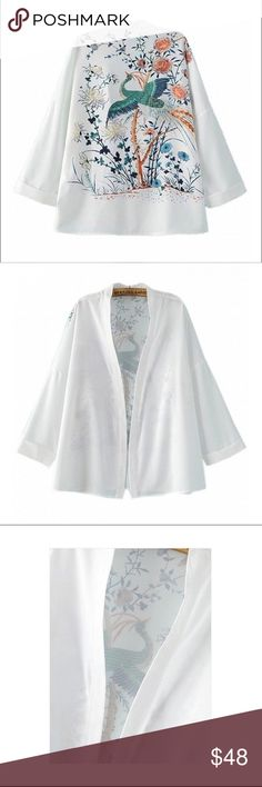 White Floral Printed Kimono  Kimono with beautiful floral print on the back. Made of a non-stretch fabric. Sizes S/M  Price is firm! Abracadabra Intimates & Sleepwear Robes