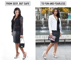 """от """"сексуального, но безопасного"""" до """"сексуального и бесстрашного""""  6. Не позволяйте одному крупному аксессуару доминировать над всем нарядом. Попробуйте не предавать черный цвет, но добавить к нему что-то белое — например кофту, куртку или пиджак. Так образ станет в разы гармоничнее и все внимание будет не на дизайнерских лодочках, а на вас!"""