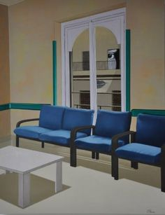 """Waiting Room by Chiara Smirne, 35.4 H x 27.6 W x 1.6"""", oil and acrylic on canvas 