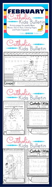 February Catholic Kids Bulletin Ash Wednesday Lent Saint Blaise Saint Bernadette of Lourdes