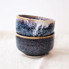 blue ceramic cups - chawan galaxy