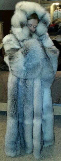 Fox Fur Coat with Hood   lovely and cozy looking